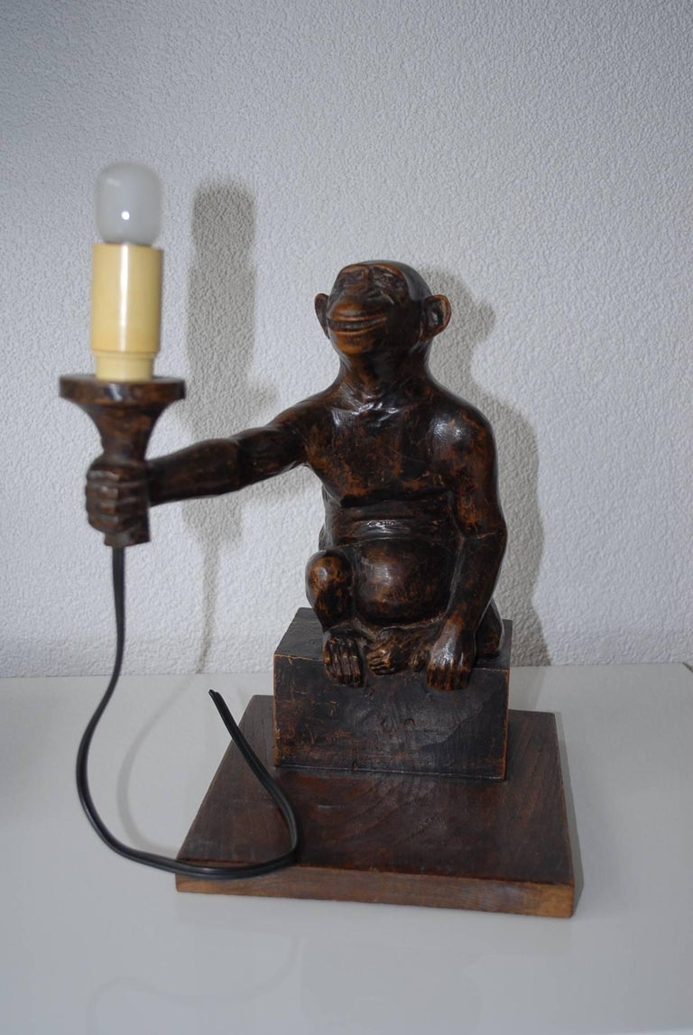 Rare and Decorative Carved Chimp, Monkey Wooden Table or Desk Lamp Early 1900 For Sale 7