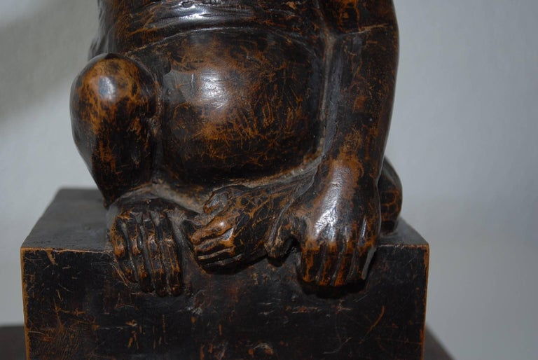 Rare and Decorative Carved Chimp, Monkey Wooden Table or Desk Lamp Early 1900 For Sale 8