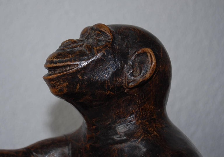 Rare and Decorative Carved Chimp, Monkey Wooden Table or Desk Lamp Early 1900 For Sale 11