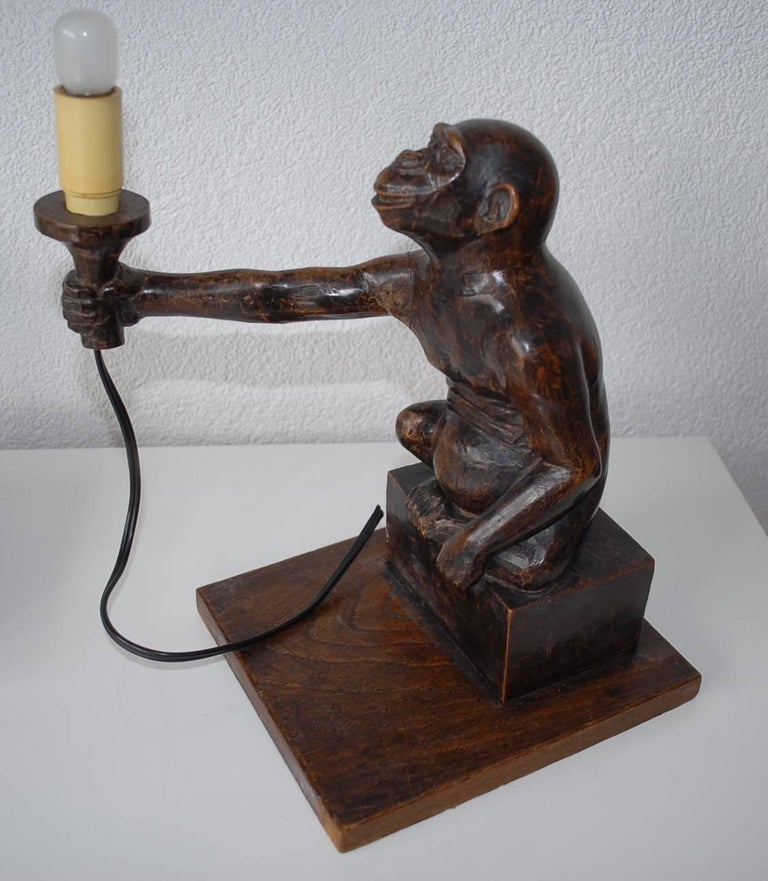 Rare And Decorative Carved Chimp Monkey Wooden Table Or
