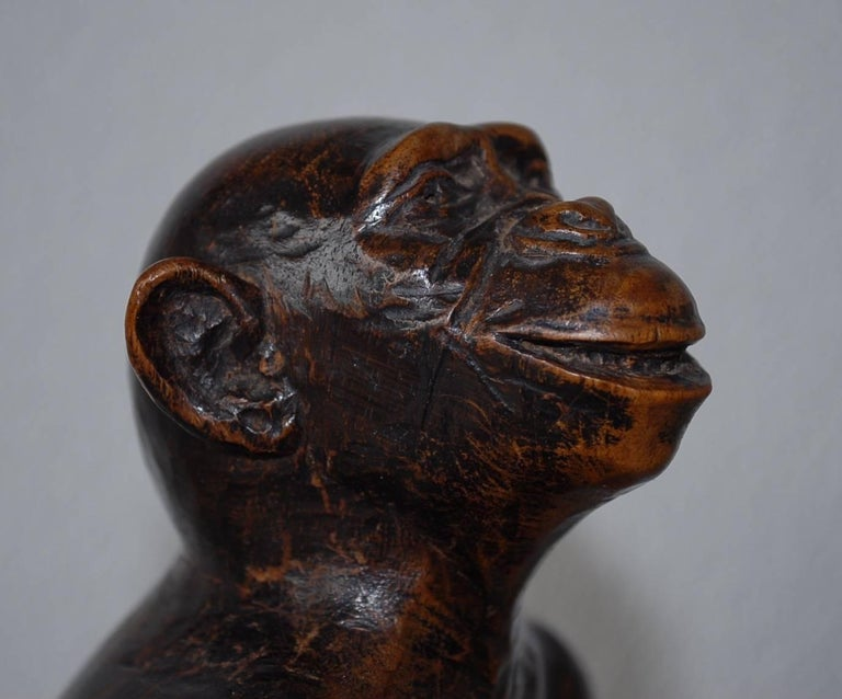 Hand-Carved Rare and Decorative Carved Chimp, Monkey Wooden Table or Desk Lamp Early 1900 For Sale