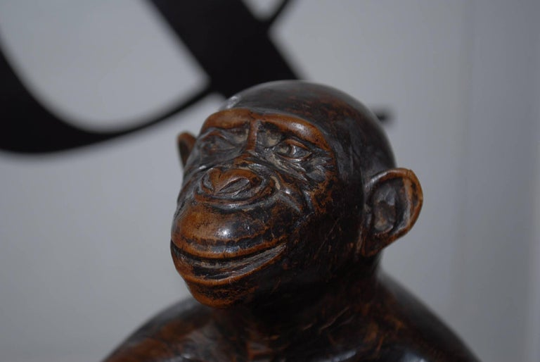 20th Century Rare and Decorative Carved Chimp, Monkey Wooden Table or Desk Lamp Early 1900 For Sale