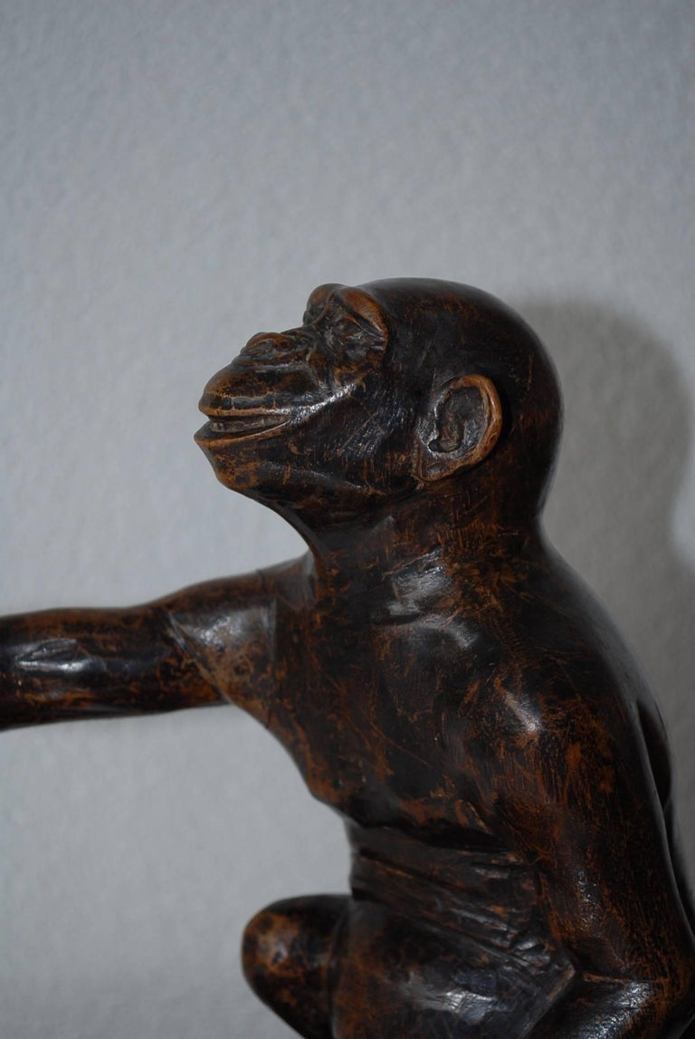 Rare and Decorative Carved Chimp, Monkey Wooden Table or Desk Lamp Early 1900 For Sale 1