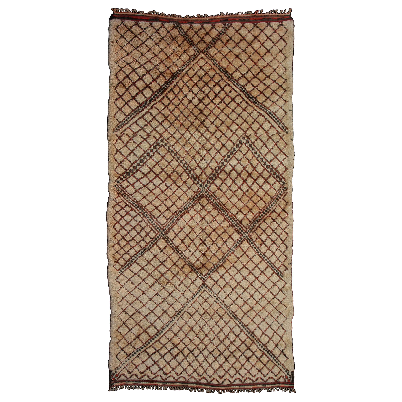 Rare and Early Beni Ouarain Moroccan Berber Masterweave Rug
