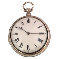 Rare and Early English Silver Pair of Cased Verge Fusee Pocket Watch