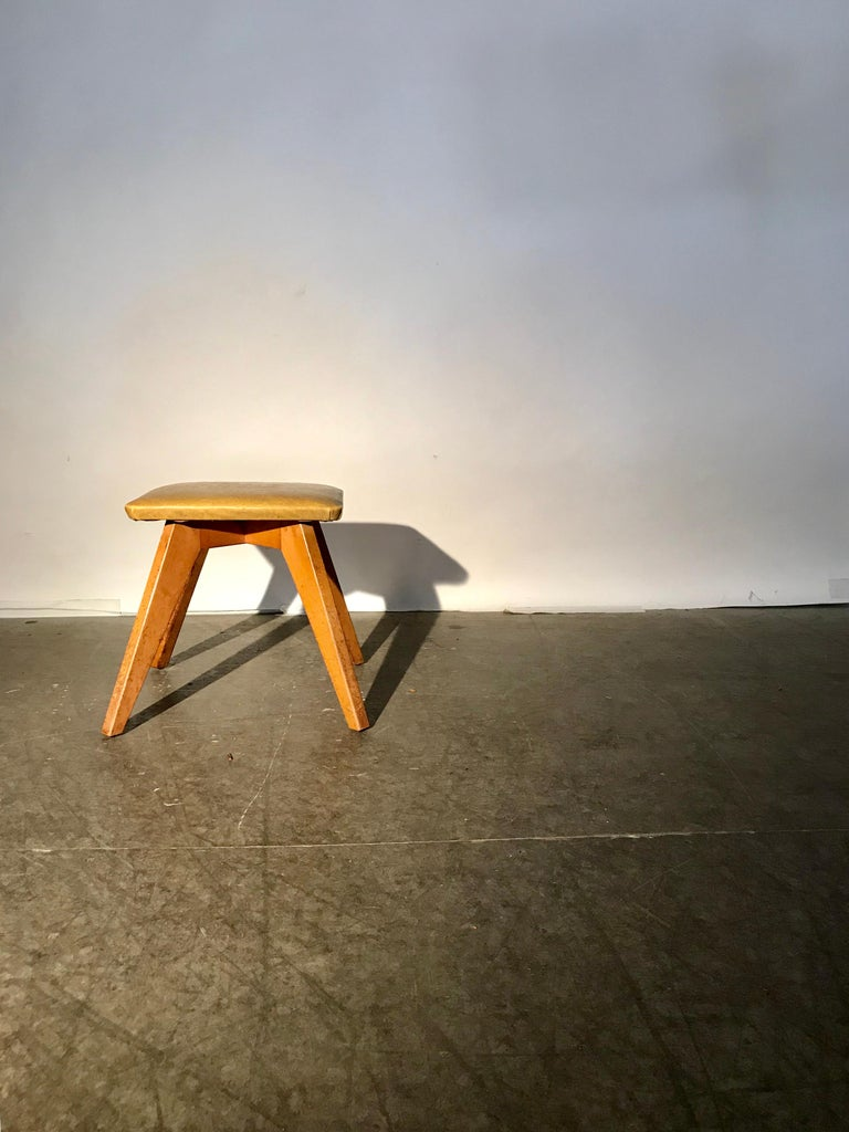 Upholstery Rare and Early Jens Risom Stool for Knoll Associates, New York City For Sale