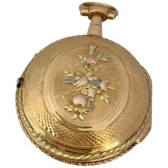 Rare and Early Tri-Color Gold Small Verge Fusee Pocket Watch