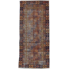 Rare and Elegant 18th Century Antique Yarkand Samarkand Distressed Rug