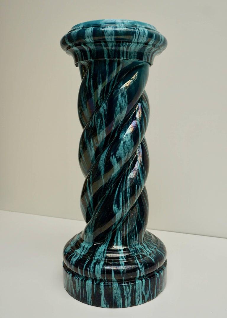 Glazed Rare and Elegant Art Nouveau Column Flower Stand For Sale