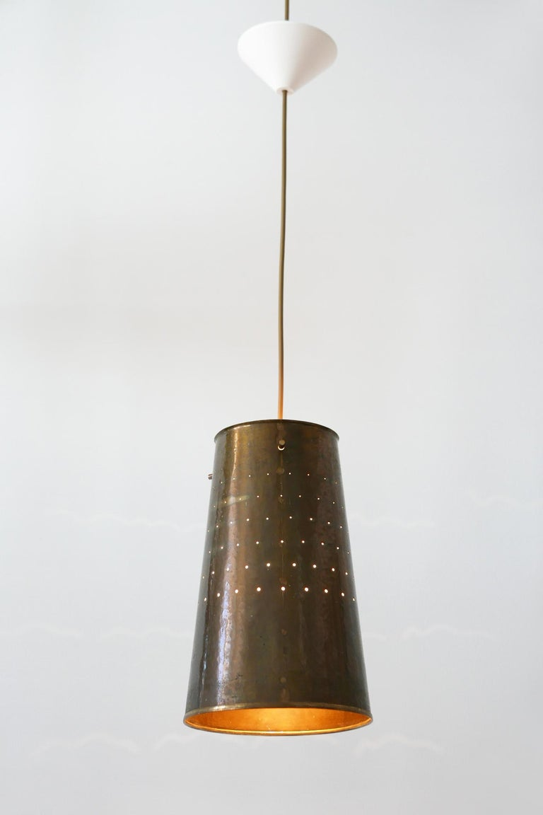 Anodized Rare and Elegant Mid-Century Modern Brass Pendant Lamp, 1950s, Germany For Sale
