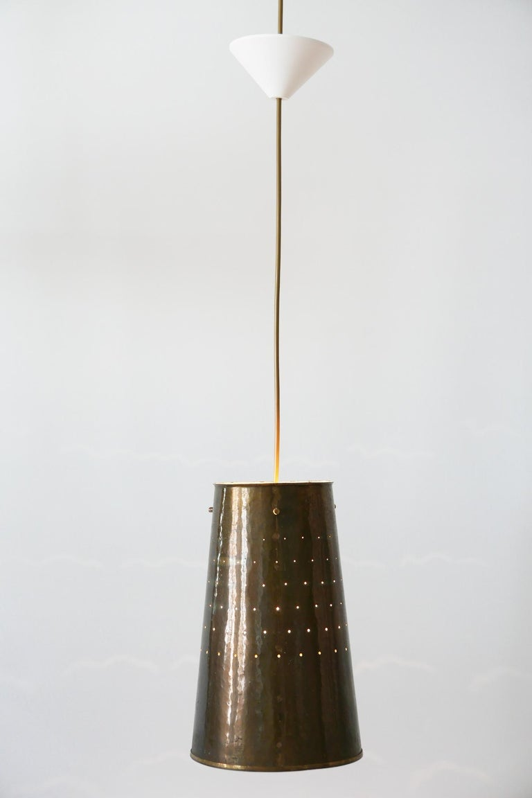 Mid-20th Century Rare and Elegant Mid-Century Modern Brass Pendant Lamp, 1950s, Germany For Sale