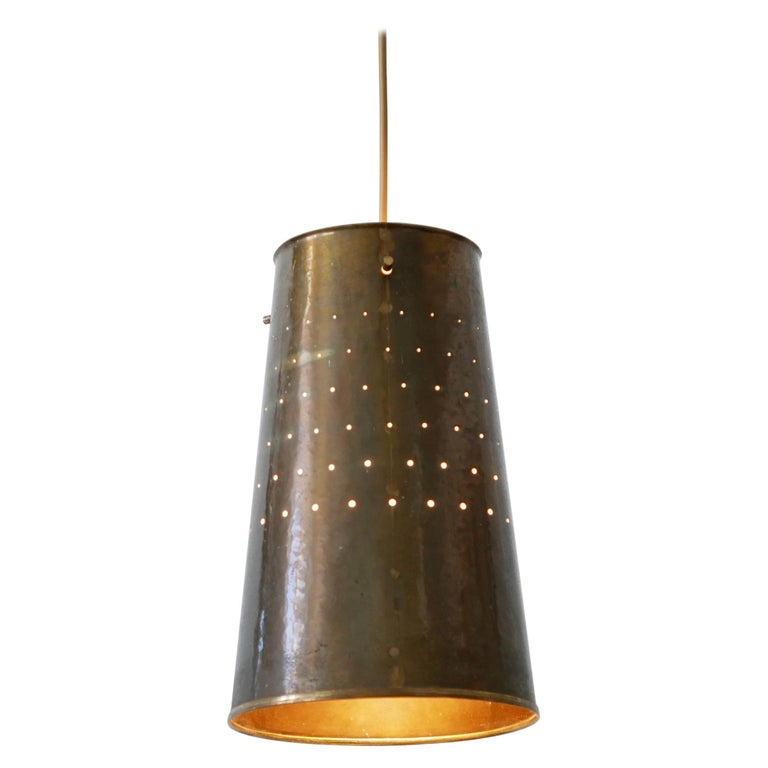 Rare and Elegant Mid-Century Modern Brass Pendant Lamp, 1950s, Germany For Sale