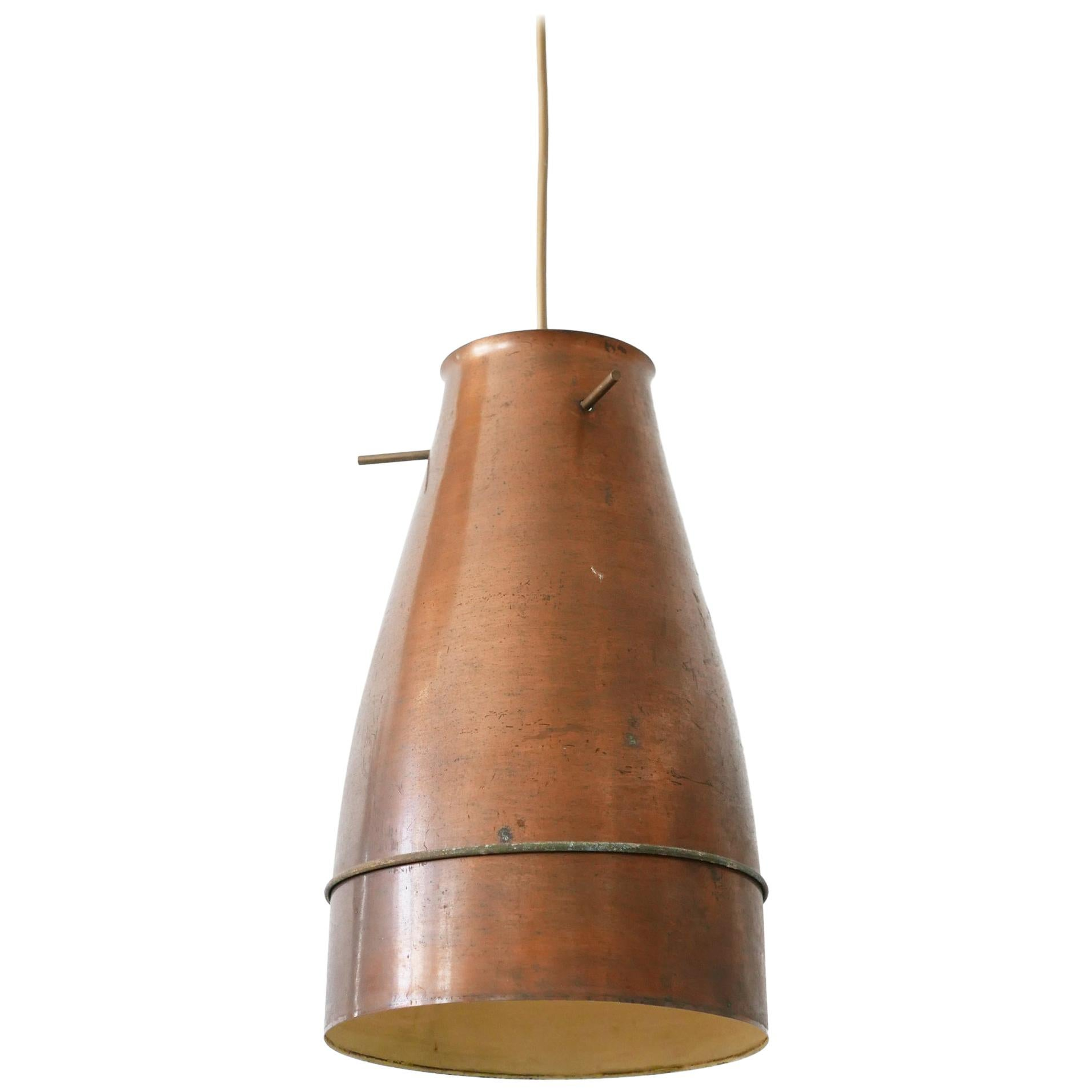 Rare and Elegant Mid-Century Modern Copper Pendant Lamp, 1950s, Germany