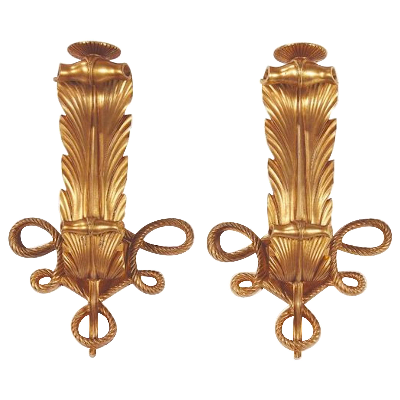 Rare and Elegant Pair of Art Deco Gilt Bronze Sconces by Jules Leleu