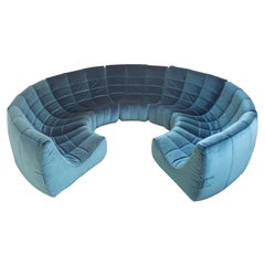 Rare and Exceptional 'Gilda' Circle Sofa in Velvet by Michel Ducaroy, 1972