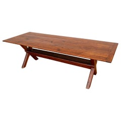 Rare and Extraordinary Antique American Sawbuck Dining Table