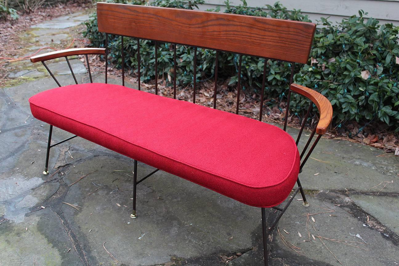 Rare And Fantastic Selrite Three Seat Settee With Red Wool Upholstery. Also  Have Nine