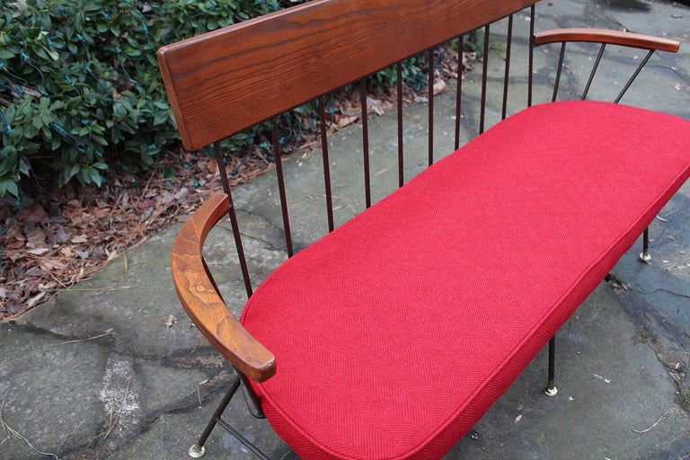 20th Century Rare and Fantastic Selrite Three-Seat Settee with Red Wool Upholstery For Sale