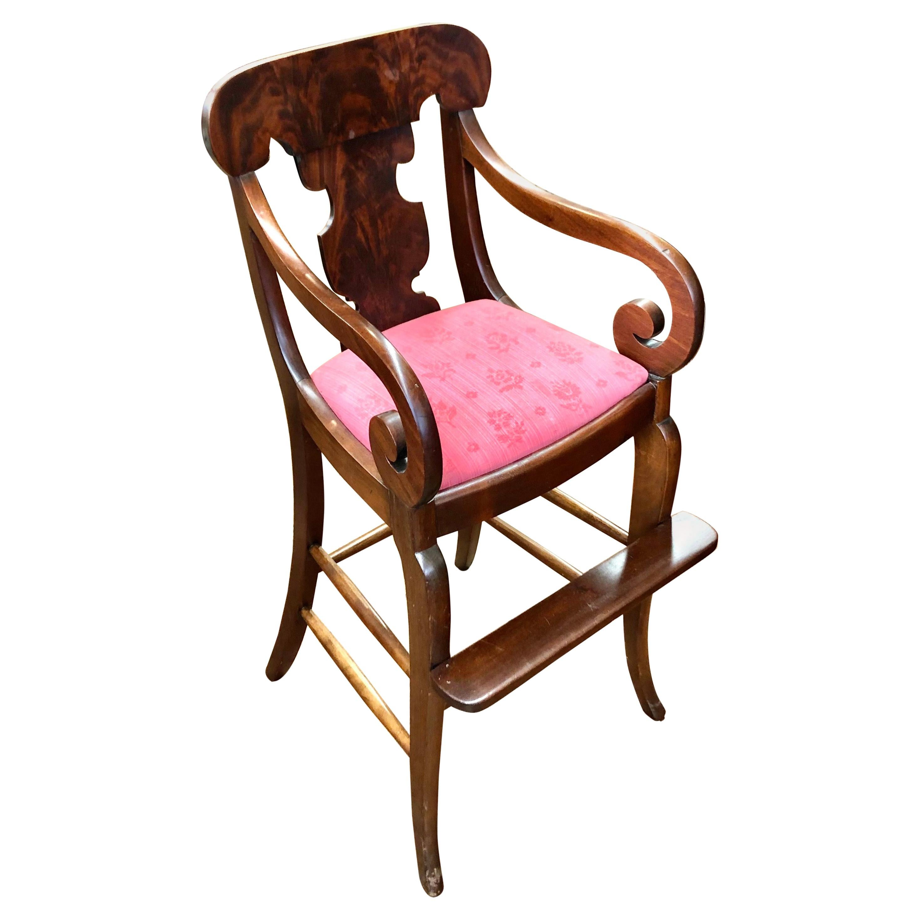 Rare and Fine Antique American Flame Mahogany Empire Style Child's Highchair