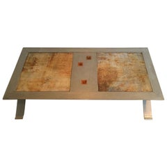 Rare and Fine Brushed Steel and Ceramic Coffee Table, French