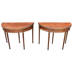 Rare and Fine Pair of Crotch Mahogany Demilune Game Tables