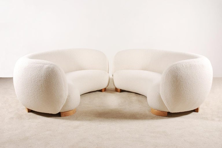 Scandinavian Modern Rare and Gorgeous Pair of Danish Curved Sofas from the 1940s For Sale