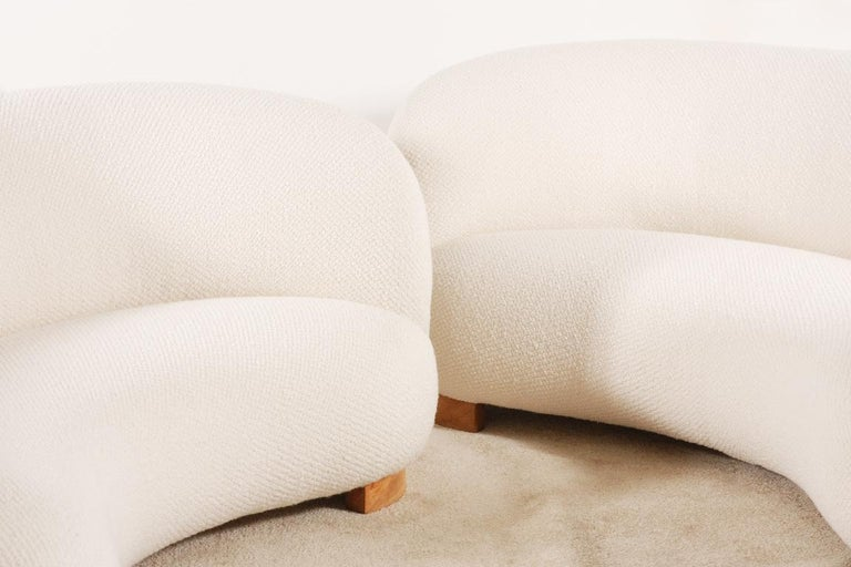 Wool Rare and Gorgeous Pair of Danish Curved Sofas from the 1940s For Sale