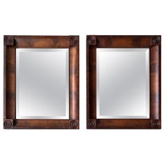 Rare and Great Condition Pair of Early 1800s Empire Style Mahonie Wall Mirrors