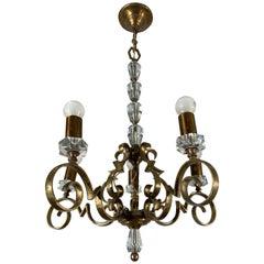 Rare and Handcrafted Jule Leleu Style 5 Light Bronze & Glass Art Deco Chandelier