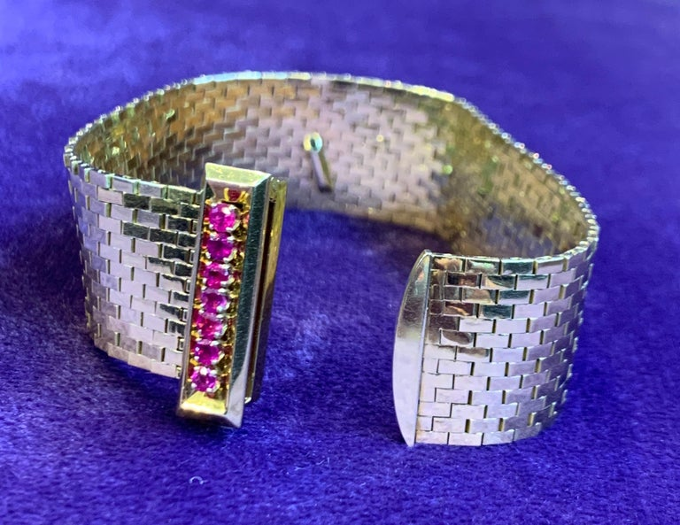 Rare and Iconic Van Cleef & Arpels Passe Partout Sapphire & Ruby Bracelet For Sale 9
