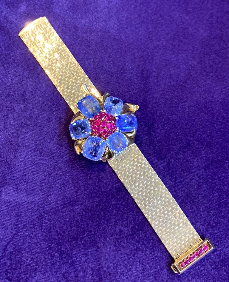 Cushion Cut Rare and Iconic Van Cleef & Arpels Passe Partout Sapphire & Ruby Bracelet For Sale