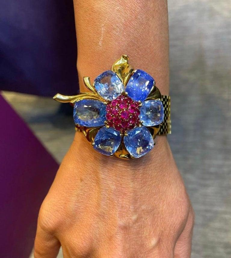 Women's Rare and Iconic Van Cleef & Arpels Passe Partout Sapphire & Ruby Bracelet For Sale