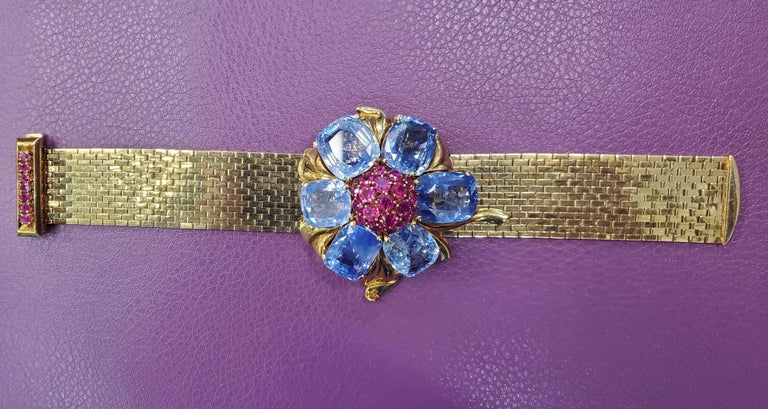 Rare and Iconic Van Cleef & Arpels Passe Partout Sapphire & Ruby Bracelet For Sale 2