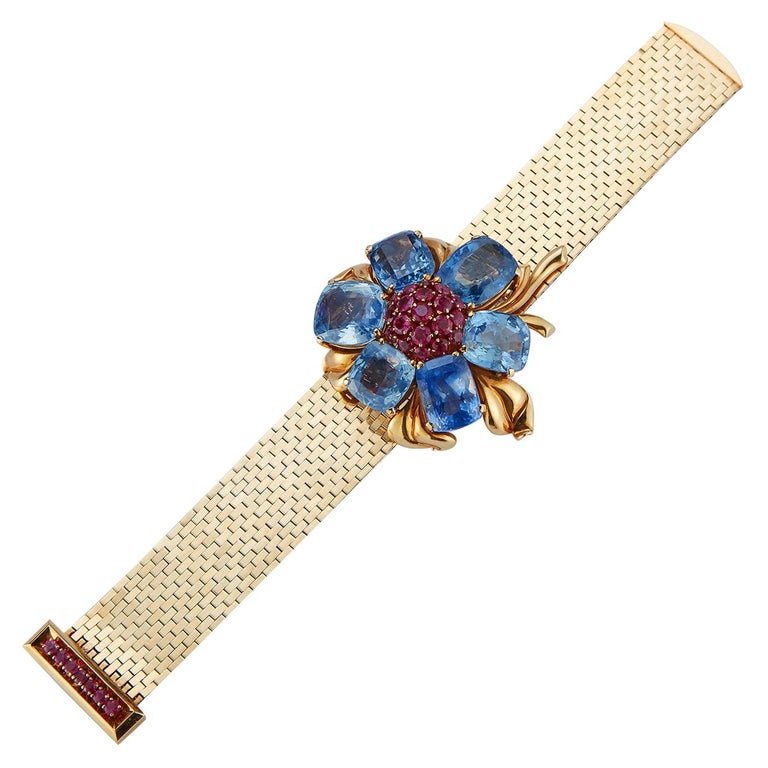 Rare and Iconic Van Cleef & Arpels Passe Partout Sapphire & Ruby Bracelet For Sale