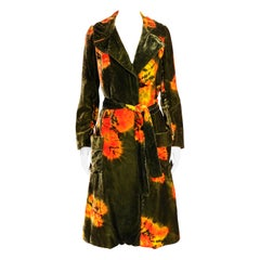 Rare and Important 1960's Halston Colorful Tie Dye Velvet Coat Ensemble