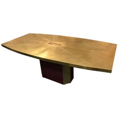 Rare and Important Acid Etched Brass Dining Table by Paco Rabanne