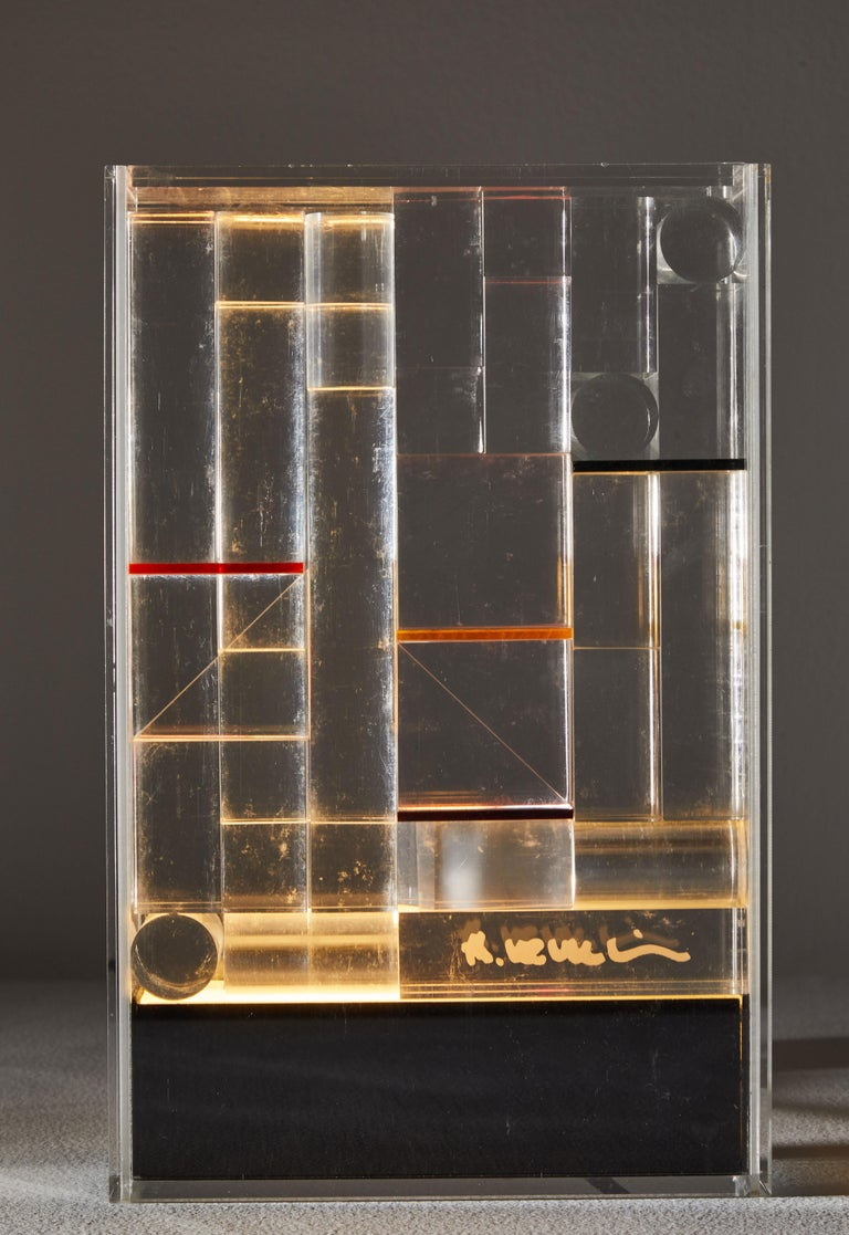 Mid-Century Modern Rare and Important Illuminated Sculpture by Theodor Neumaier for Lamperti For Sale