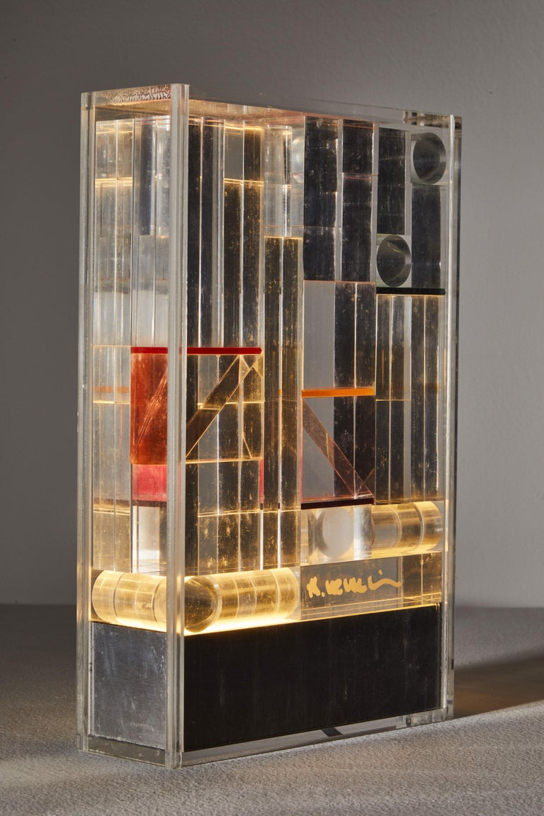 Italian Rare and Important Illuminated Sculpture by Theodor Neumaier for Lamperti For Sale