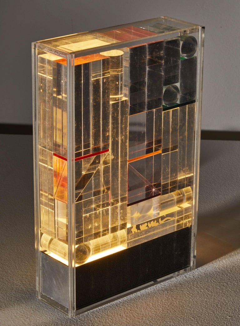 Late 20th Century Rare and Important Illuminated Sculpture by Theodor Neumaier for Lamperti For Sale