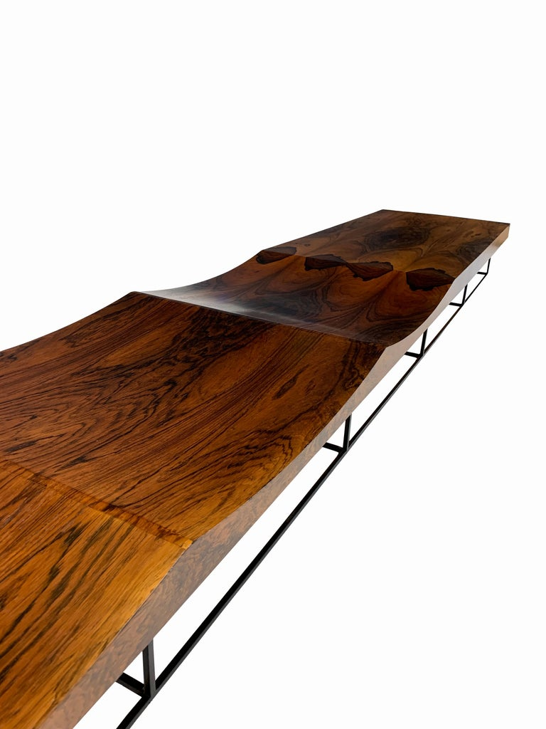 South American Rare and Important Jorge Zalszupin Onda or Wave Bench for L' Atelier, circa 1963 For Sale