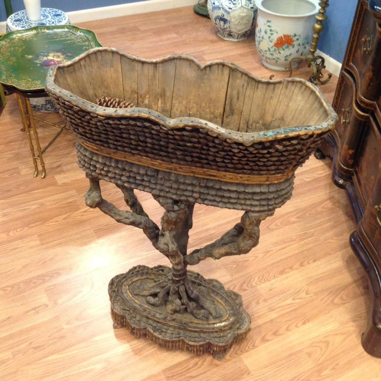 Rare and Important Large Carved Fantasy Planter For Sale 8