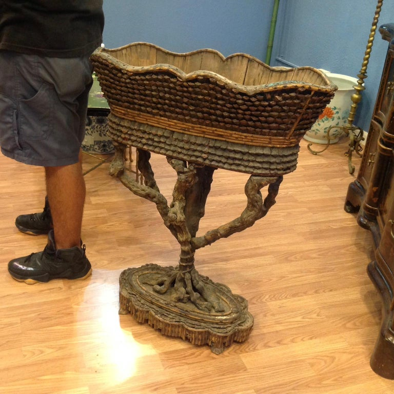 Rare and Important Large Carved Fantasy Planter For Sale 9