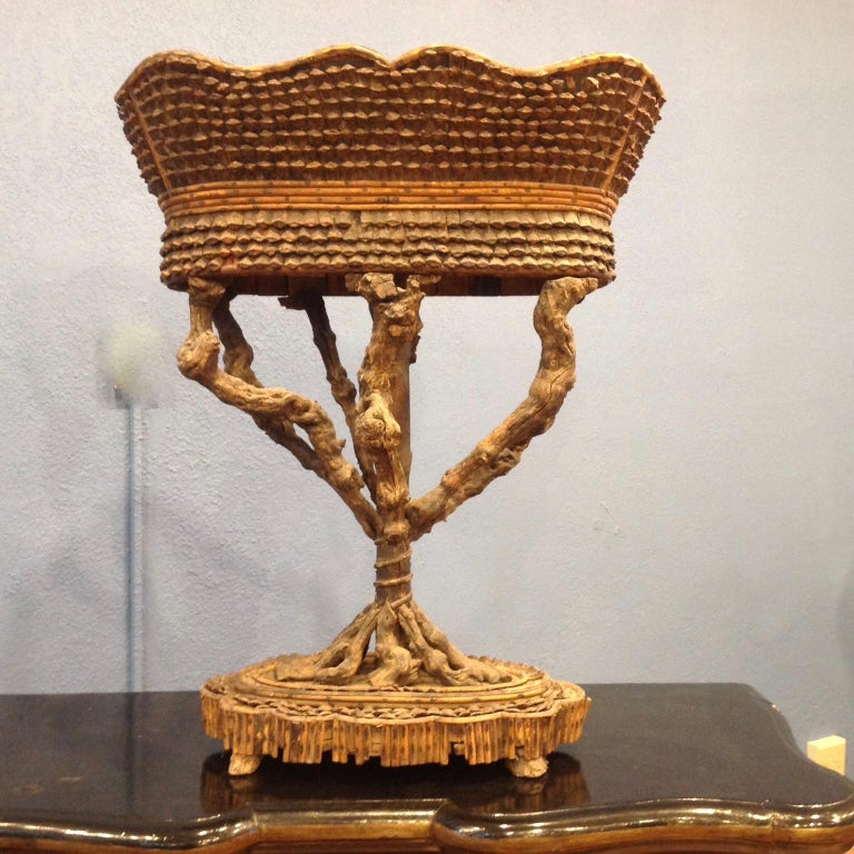 Rare and Important Large Carved Fantasy Planter In Good Condition For Sale In West Palm Beach, FL