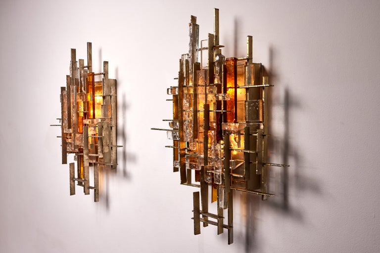 Mid-20th Century Rare and Large Pair of Wall Lights by Albano Poli for Poliarte For Sale
