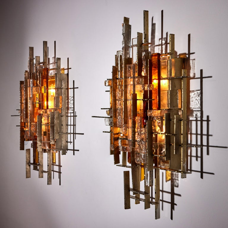 Steel Rare and Large Pair of Wall Lights by Albano Poli for Poliarte For Sale