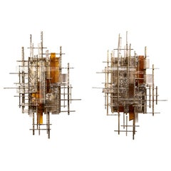 Rare and Large Pair of Wall Lights by Albano Poli for Poliarte