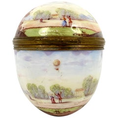 Rare and Large Viennese Enamel 'Ballooning' Box and Cover, circa 1890