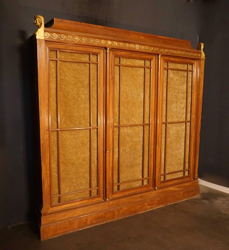 A rare and magnificent neoclassical mahogany three door bookcase dating to the second half of the 19th century.   Resting on a large plinth, the bookcase has three large frame doors with parallel detached moldings over a metal trellis work, backed