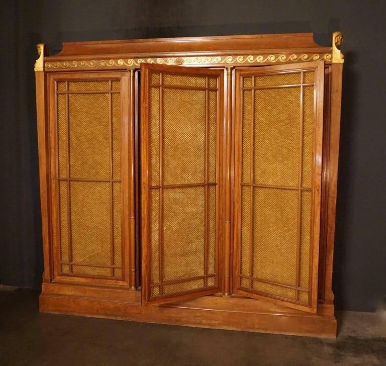 Belgian Rare and Magnificent Neoclassical Mahogany Bibliotheque Bookcase For Sale