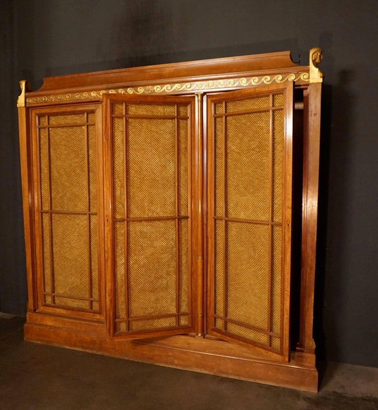 Gilt Rare and Magnificent Neoclassical Mahogany Bibliotheque Bookcase For Sale